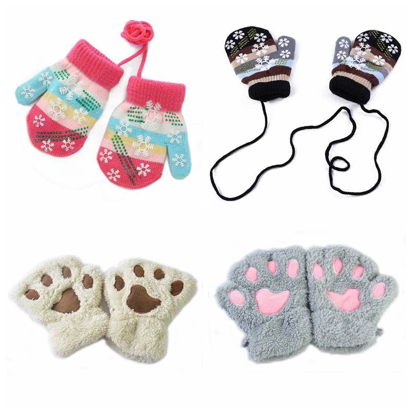 Newborn Baby Gloves&Mittens Cute Cartoon Infant Thicken Warm Fleece Gloves Kids Boys Girls Winter Warm Gloves