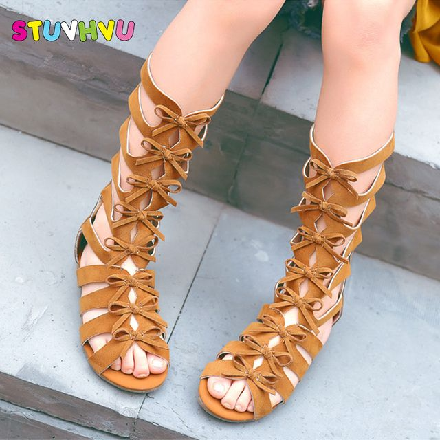 2019 Little girls gladiator sandals boots scrub leather summer brown black high-top fashion roman kid sandals toddler baby shoes