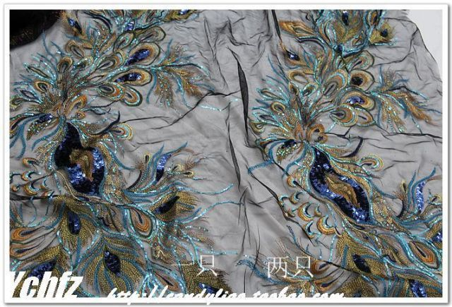 1pcs Beautiful blue Phoenix Peacock tail lace motifs Black gauze embroidery sequins gold thread lace applique cheongsam fabric