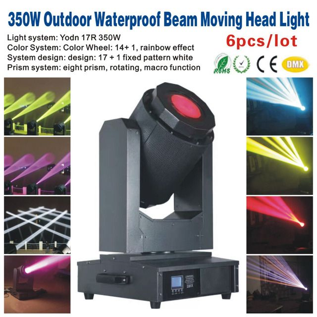 6pcs/lot 350W Outdoor Waterproof Beam Moving Head Light,Outdoor Beam Sky Tracker,Party KTV Bar Club DJ Disco Stage Light