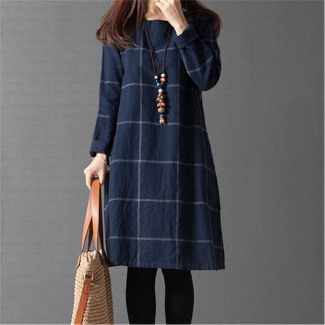 2016 New arrival Plus Size Long Sleeve plaid Loose Cotton Linen Women Dress Spring and Autumn Dreeses Korean style