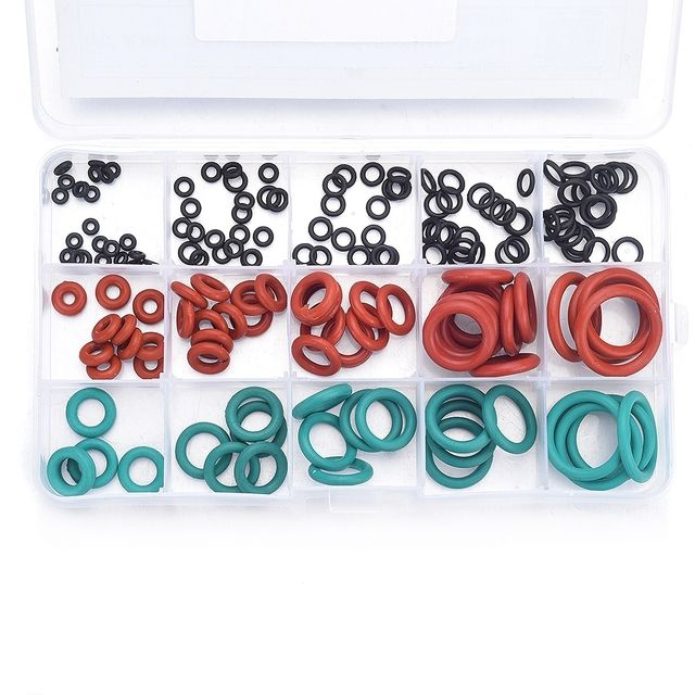 170Pcs 15 Sizes 3 Types NBR VMQ FKM Silicone Gasket O Ring Washer Seals Assortment Heat Resistant O-Ring Repair Tool with Case