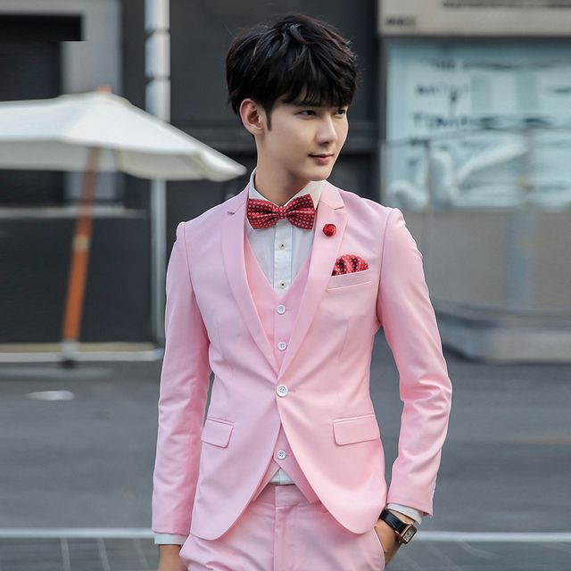2018 Spring 3 pieces ( jacket+pants+vest)  pink mens prom suits terno masculino red men suits perfume masculino