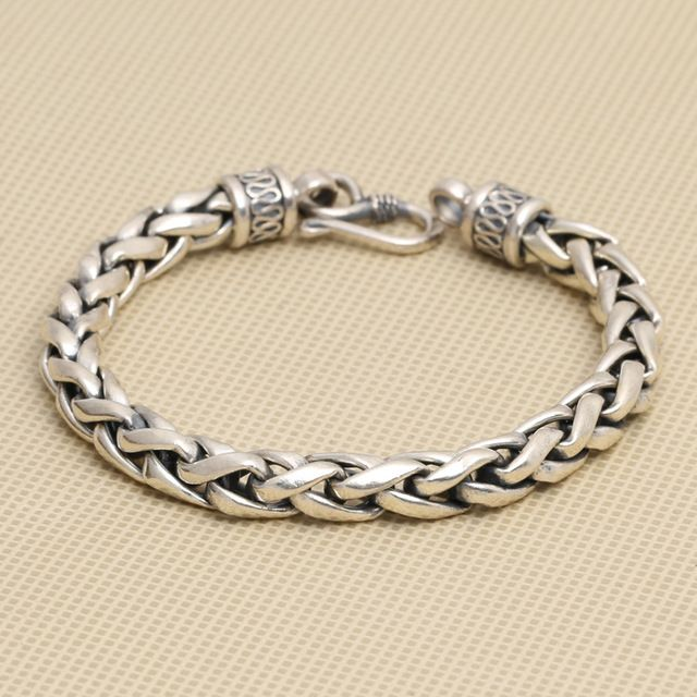 wholesale manufacturers S925 silver personalized jewelry Thai silver retro Mens Large twist bracelet peace lines