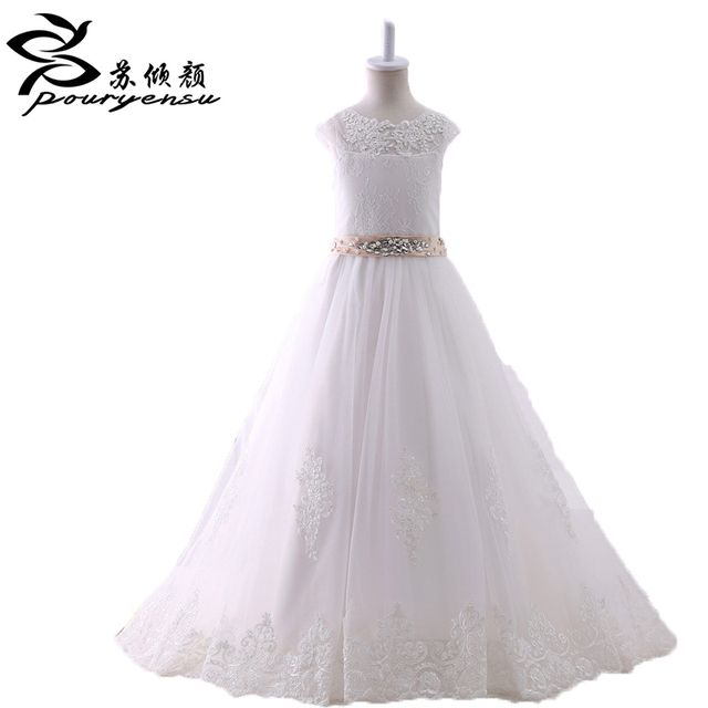 2016 Lace Flower Girl Dresses For Weddings Kids Pageant Ball Gown First Holy Communion Dress Beading Floor Length