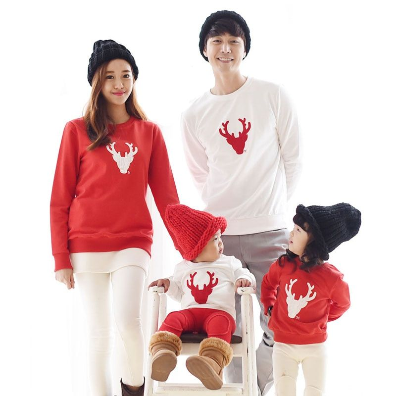 2019 Cotton T-shirt Christmas Deer mother Mommy and Me Daughter Father Baby Clothes Matching Family Clothing Sets Family Look