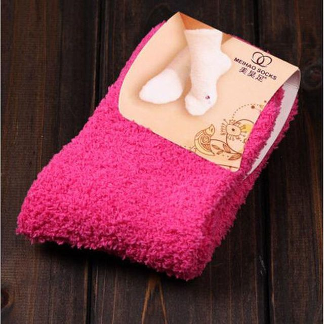 Hot Warm 1Pair Women Girls Casual Bed Socks Pure Color Fluffy Warm Winter Kids Gift Soft Floor Home 11 Styles