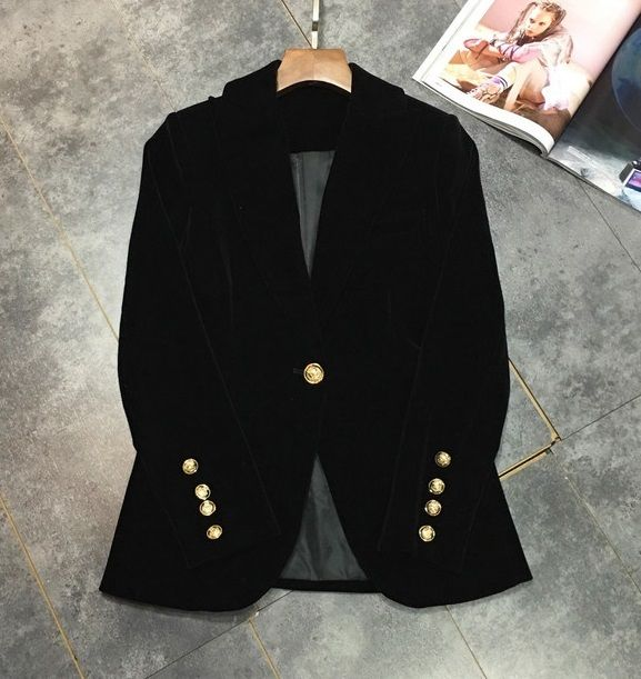 New arrival 2016 autumn winter fashion women velour blazer gold color single button blazers outerwear black burgundy top quality