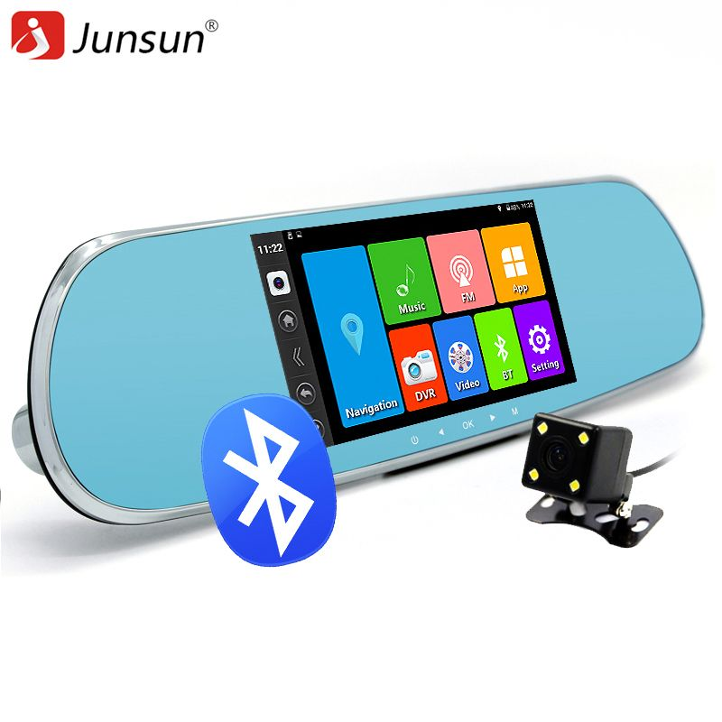 "Junsun 5"" Car DVR Camera mirror Android 4.4 Bluetooth Rearview Mirror Video Recorder Dual Lens FHD 1080P GPS navigation DVRs"