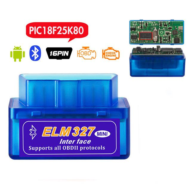 High Quality PIC1825K80 Chip Super Mini ELM327 Bluetooth Firmware V1.5 OBD2 Diagnostic Tool ELM 327 V1.5 Bluetooth with switch
