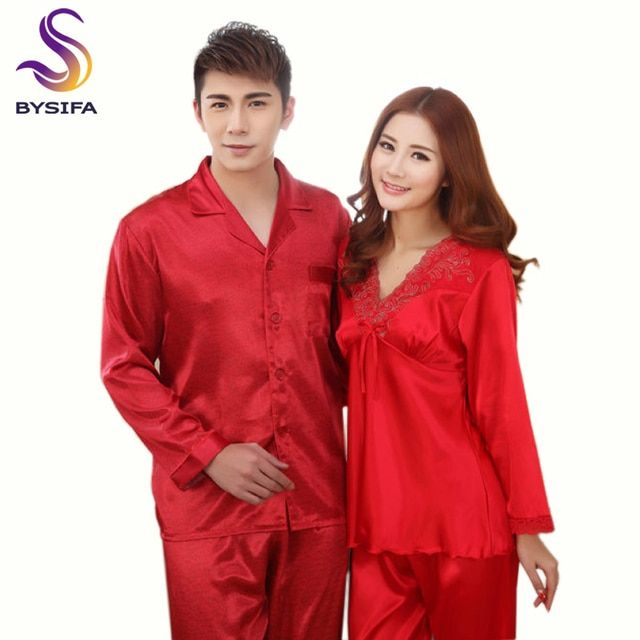 New Red Silk Lovers Pajamas Sets  Spring Summer Women Man Long Sleeves Satin Pajamas Sets Female Red Pajamas Embroidered