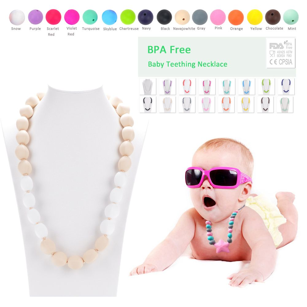 2pcs/lot New Long Silicone Necklace For Mommy Giraffe Teether Silicone Teething Necklace Famous Designer Jewelry For Women Baby