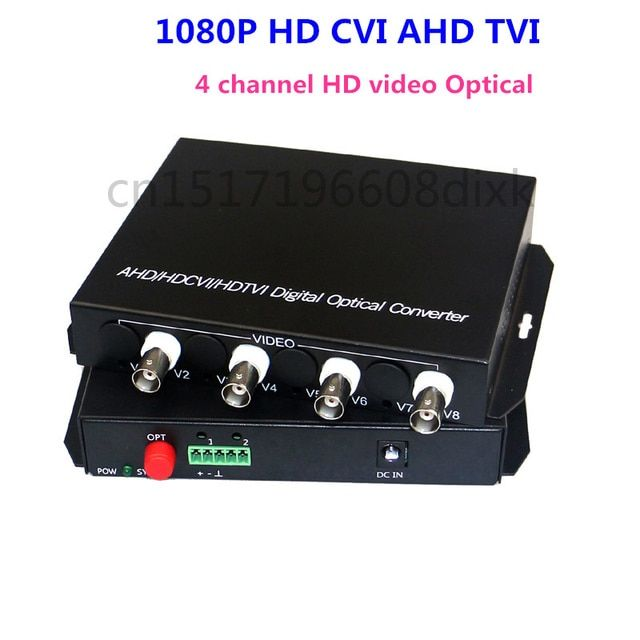 1080P HD video AHD CVI TVI Fiber optical converter, 4-CH video fiber optic transmitter, single-mode single fiber 20KM