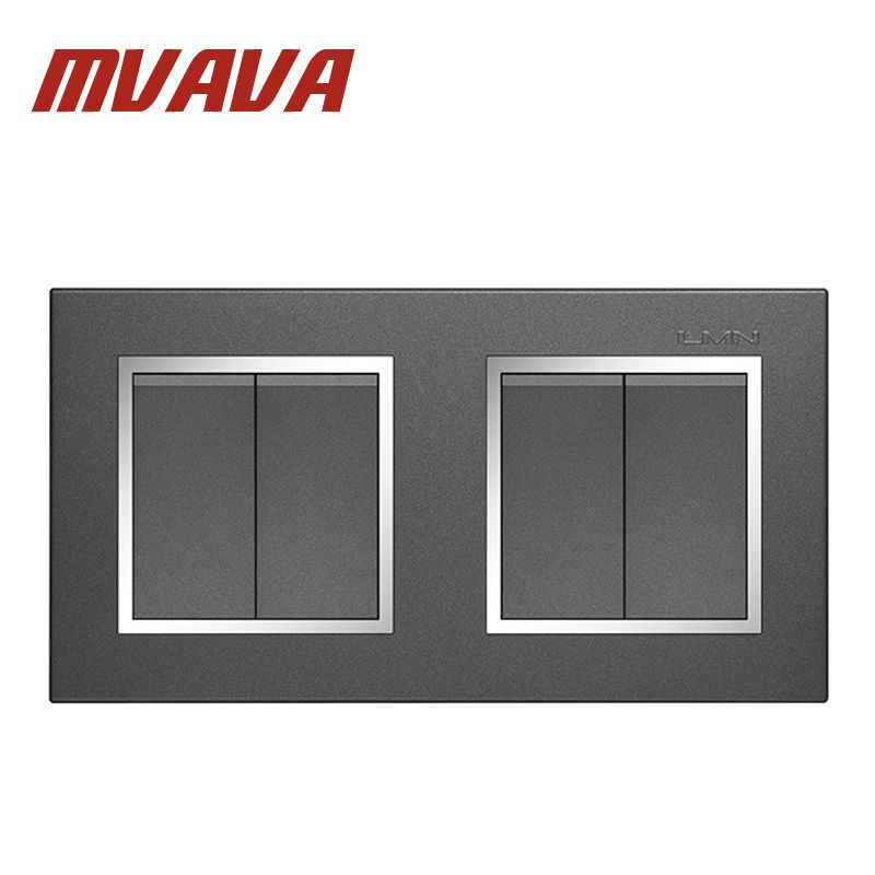 MVAVA Free Shipping Double 2 Gang Electrical Wiring Push Button Light Wall Switch 16A 110~250V 220V Chromed Frame PC Panel