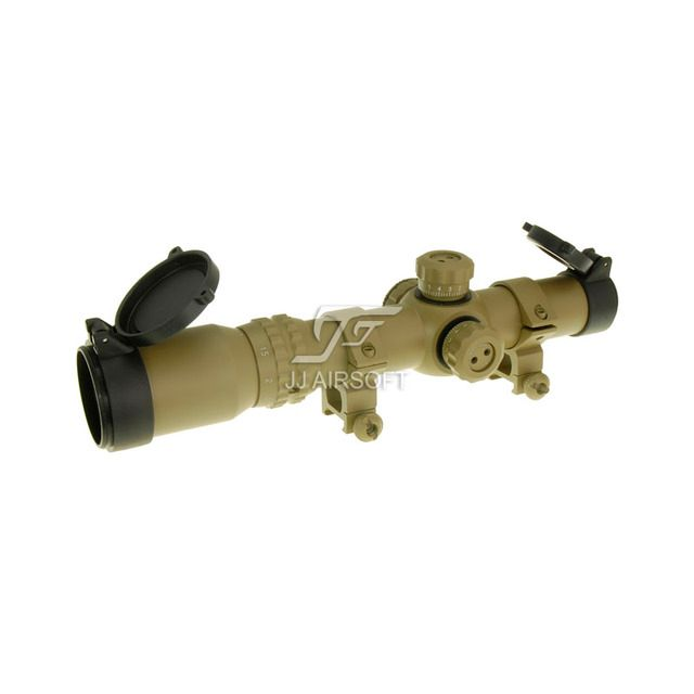JJ Airsoft 1-4x24 E Red / Green Reticle Long Eye Relief Illumination Rifle Scope (Tan) Glass Partition