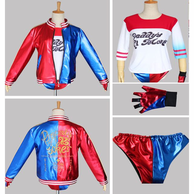 New 2017 Batman Harley Quinn Suicide Squad Costume Adult Women Cosplay Costume Full Set Jacket T Shirt Shorts