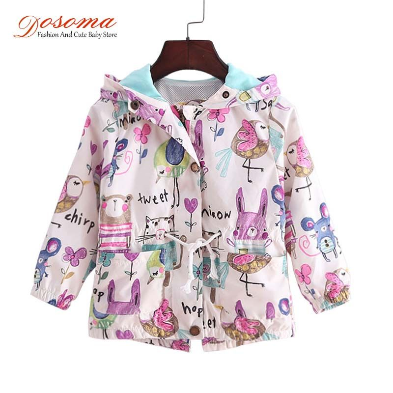 DOSOMA 2018 New Spring Baby Coat And Jacket For Girl Cartoon Graffiti Hooded Windbreaker For Girls Full Sleeve Toddler Outerwear