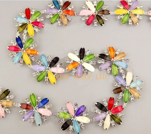 3.5cm Resin flower Rhinestone band rhinestone leaves DIY fascinator crown Wedding necklace hair ornament evening bag dress shoes