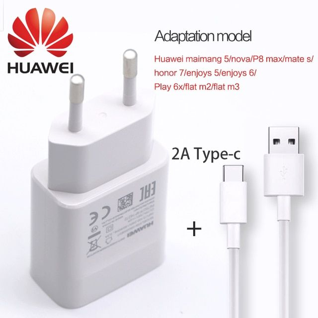 Original huawei adaptieve fast charger 5v2a eu 1m type c USB cable quick oplader for maimang5 p8 max honor 7 mate s enjoys 5 6