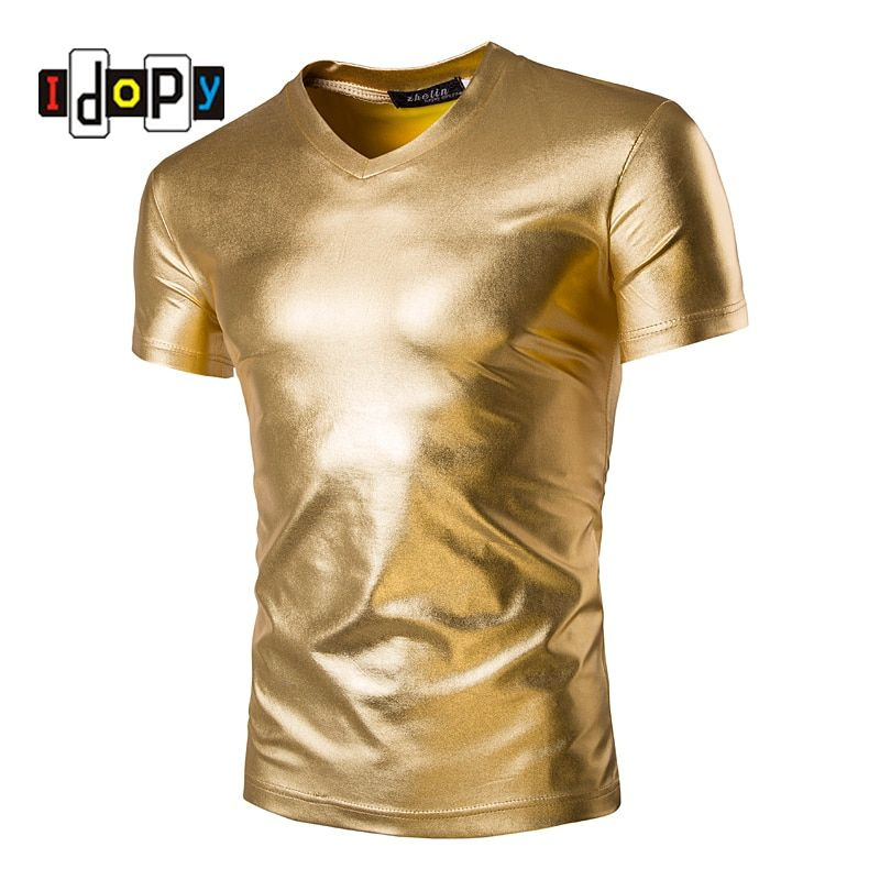 Mens Trend Night Club Coated Metallic Gold Silver T-Shirts Stylish Shiny Short Sleeves Tshirts Tees For Men