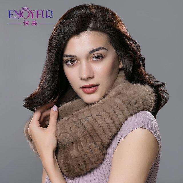 Winter women fur scarf knitted natural mink fur scarves for lady 2017 brand new fashion mink fur ring