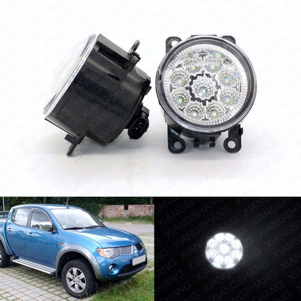 LED Front Fog Lights for MITSUBISHI L200 KB_T KA_T Pickup Car Styling Round Bumper DRL Daytime Running Driving fog lamps