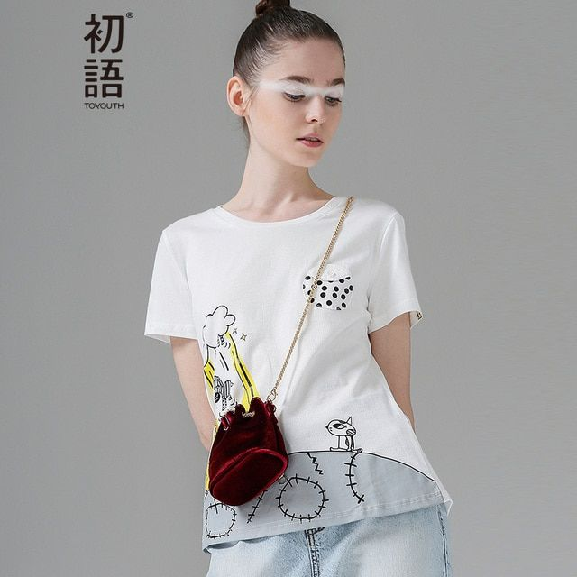 Toyouth New Arrival Women Cotton T-Shirts Summer Cartoon Printed Casual Loose O-Neck Top