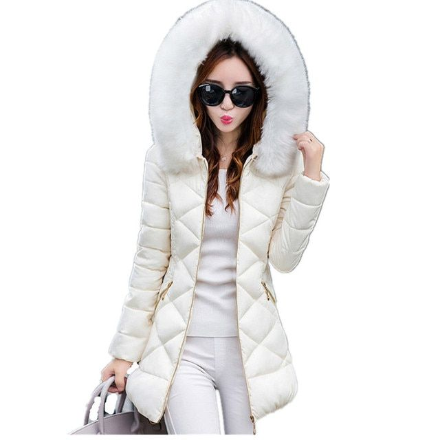 Womens Winter Jackets And Coats 2016 Women's Parkas Thick Warm Faux Fur Collar Hooded Anorak Ladies Jacket Female Manteau Femme