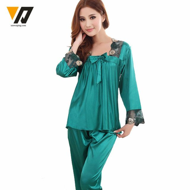 Womens Silk Pajamas Sets Spring Summer Female Lace Nightgown Embroidered Satin Pyjamas Sleepwear Loungewear L-3XL