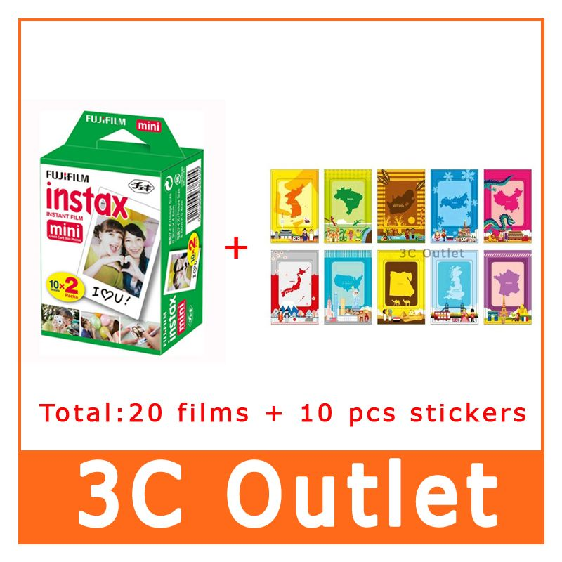 Original Fujifilm Instax Mini 8 Film White Edge For Fuji Instant Camera Mini8 7s 25 50s 90 +10 Decor Stickers , Free Shipping