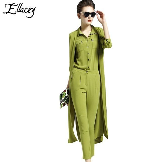 3 Pes/Set Fashion 2016 Spring Summer Women Suits Star Style 3 Pieces Set Women Long Vest Cardigan With Blouse Pencil Pants Suit
