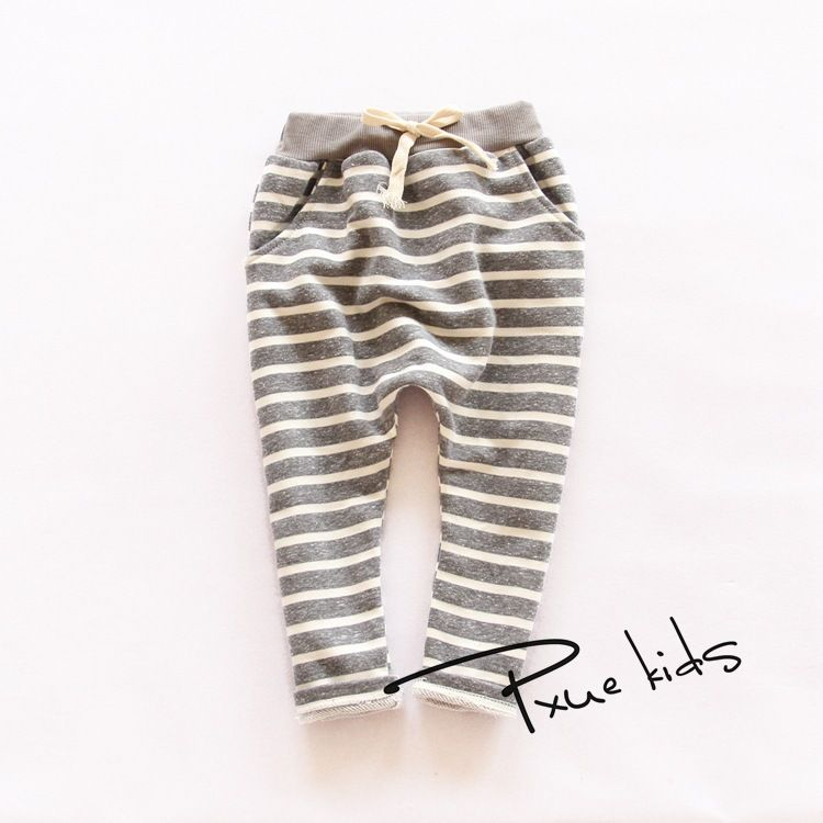 Kids pants 2015  Autumn Boys harem Pants full length terry girls pants Fashion cotton striped trousers  for girls