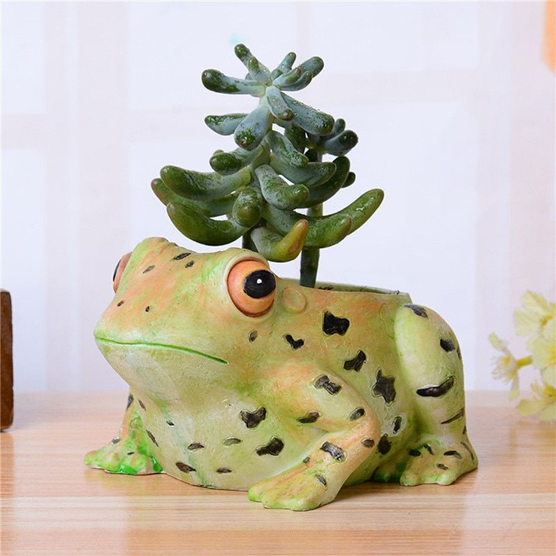 cute Frog animal flower pot Resin planters pots pallets for small decorative flowers pot succulents pots mini flowers holder