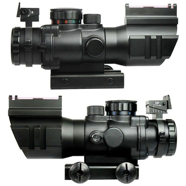 4X32 Tactical Rifle Scope W/ Tri-Illuminated Chevron Reticle Fiber Optic Sight Scope Rifle Airsoft Hunting Airsoft