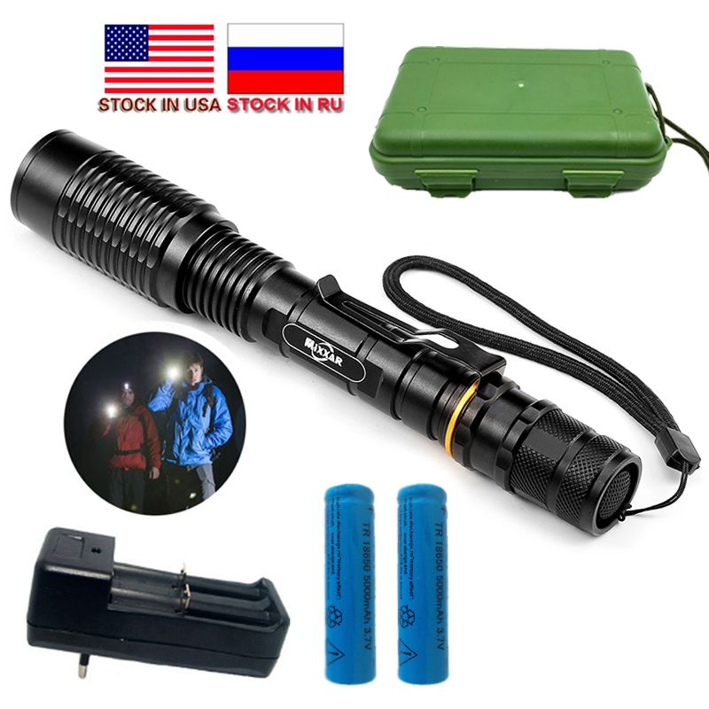 Dropshipping 8000LM LED Flashlight LED V5 T6 5 Modes Zoomable Torch Flashlight 18650 Batteries Stock in US,RU