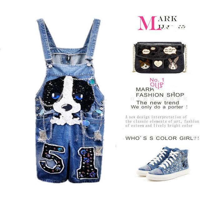 Denim Rompers Womens Cartoon Dog Shiny Sequins Appliques Denim Ripped Overalls Jeans Casual Sequined Women Denim Jumpsuits NZ41