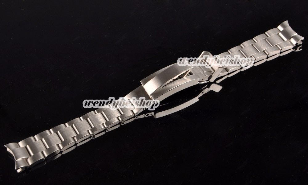 21mm New Men Lady Strap 316L Solid Stainless Steel Watch Band Curved End Glide Lock Deployment Clasp Buckle Bracelet Belt