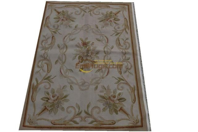 rug for living room Handmade wool carpet french aubusson long corridor (2.62 'X 3.93') ha-11gc12aubyg6