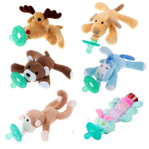 1Pc Infant Baby Boy Girl Silicone Pacifiers Cuddly Plush Animal Toy Soothes Baby Silicone Nipples Wholesale