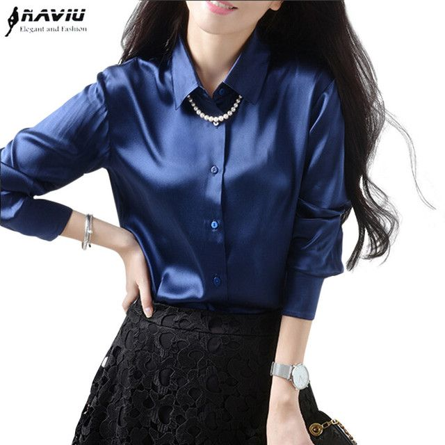 High quality elegant intellectuality women's long sleeve blouse silks satins tops female all-match loose plus size shirt  S-XXXL
