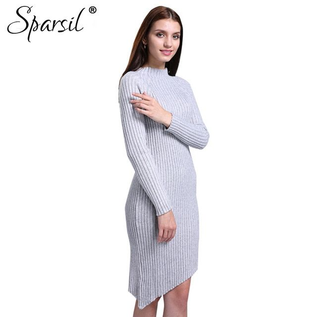 Sparsil Women Winter Cashmere Blend O-Neck Slim Sweater Long Style Knitted Pullover Korean Style Knitwear Jumpers Sweaters Dress