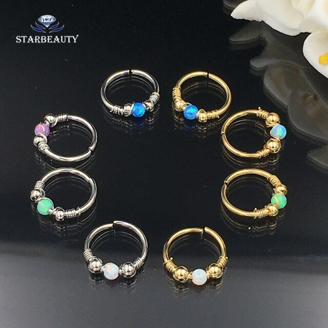1 piece/order White OPAL Piercing Nose Rings Studs 18G Nose Piercing Septum Women Daith Piercing Opal Ring Ear Pircing Jewelry