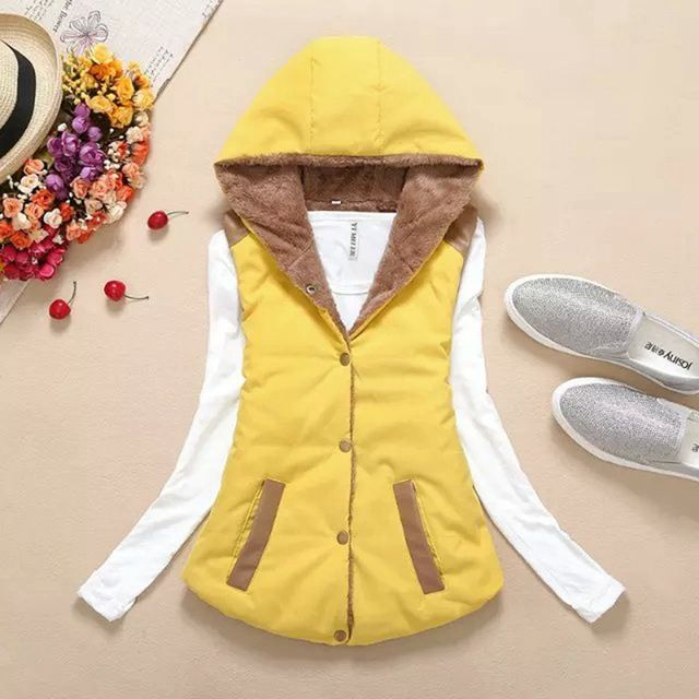 New 2015 european grand winter thick warm cashmere hooded women's sleeveless lace femal vest jacket xl spot solid