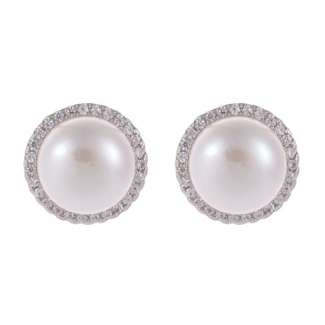New Pearl earrings Women Bridal Wedding Earring Vintage Classic Fashion Studs Jewelry Double Crystal White Imitation True silver