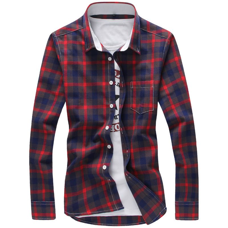 2018 Spring Men Plaid Shirts  New Autumn Luxury Slim Long Sleeve Brand Casual Fashion Dress Shirts Man Plus Size 3XL 4XL 5XL
