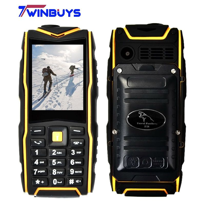 "Waterproof IP67 F18 Rugged Shockproof Mobile phone Flashlight Power Bank Phone Dual SIM Outdoor phone 2.4"" 2500mAh"
