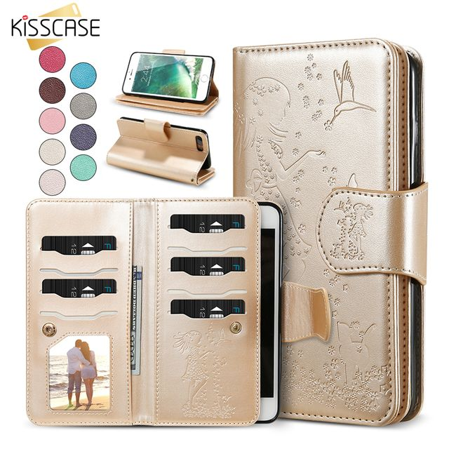 KISSCASE Wallet Phone Case For iPhone 6 7 6S 8 5 5S SE Women Leather Case Cover For iPhone 7 6 6S 8 Plus Mirror Case Accessories