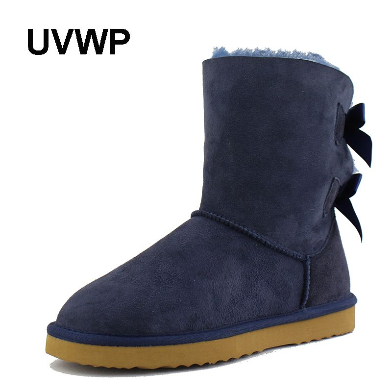 UVWP Top Quality Real sheepskin Leather Women Snow Boots 100% Natural Fur Warm Wool Boots women boots winter snow boots