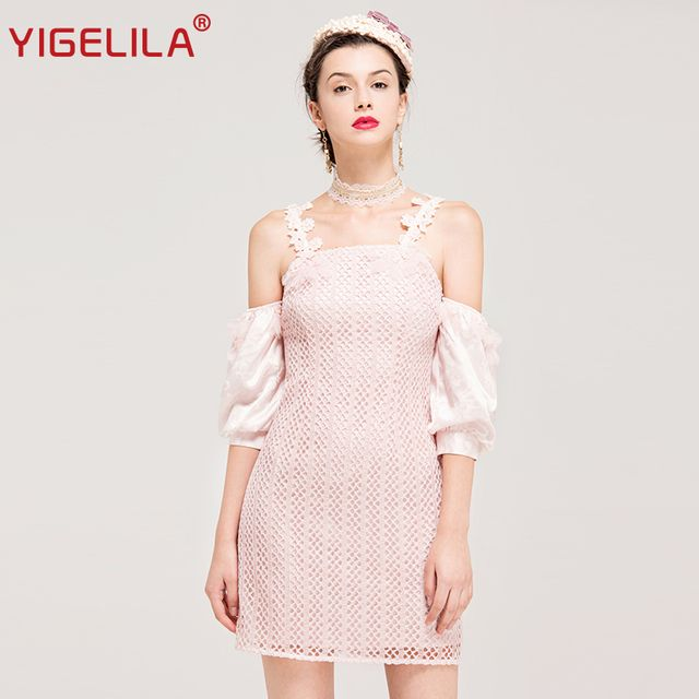 YIGELILA 62254 Latest New Sexy Club Pink Lace Dress Women Lantern Sleeve Strapless Sheath Mini Dress