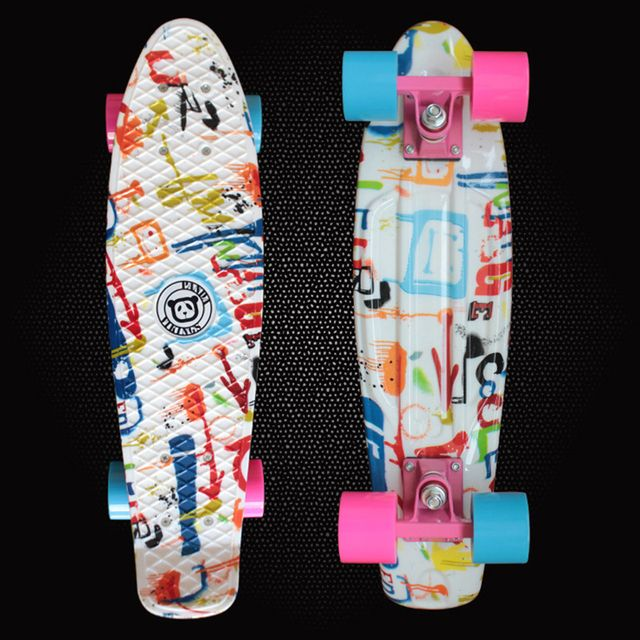 "Adult Skates Mini Cruiser Plastic Skateboard Space Graphic Printed 22"" Retro longboard complete peny board for sale PN05"
